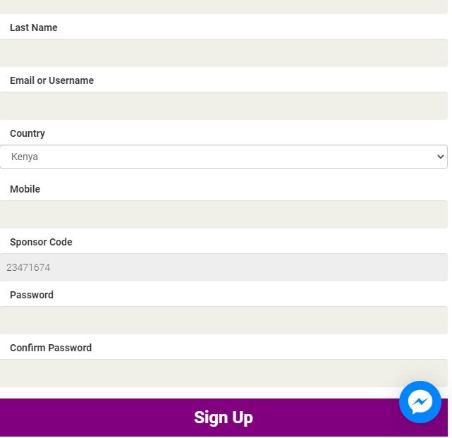 cash chat app registration form